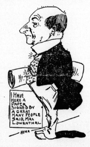 Figure 1: Attorney Max Lowenthal argues for the supporters of abandonment. Source: Los Angeles Herald