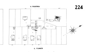 "Figure 3: A Sanborn Map from 1900 shows the Casa Figueroa alone on a plot of land at the southeast corner of Figueroa and Jefferson.  A hen house and corral are located next door. The house is described as ""partly adobe"""