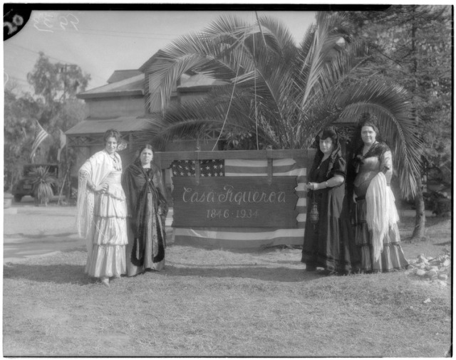 Figure 2: At the dedication of the plaque in 1934, Ana is the second woman on the left. Click to enlarge. (Source UCLA Digital Archives, uclamss_1379_09933-00)