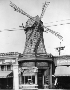Figure 3:  Van de Kamp's bakery building in Los Angeles in 1928 designed by Hollywood art director, Harry Oliver. Source LAPL Photo Collection 00059075
