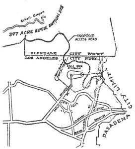 "Figure 3: Map of the Figueroa Street access road which would bring hundreds of dump trucks through the Eagle Rock neighborhood. Source: Williams, Carlton, ""Row Looms Over New Dump Site: Eagle Rock Lodges Protest Over Road to Glendale Area"" Los Angeles Times (1923-Current File), Jan 11, 1960, pg. B6"