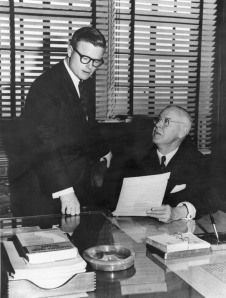 Figure 1: Los Angeles City Councilman John Holland (seated) in 1967 with aide Art Snyder who would later succeed him as the representative of the city's 14th district.  Source: Los Angeles Public Library, Shades of L.A Photo Collection, 00002471