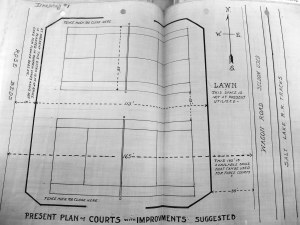 Figure 4: Tennis players volunteered plans to turn the park's two tennis courts into three. Source: Letter of Dan D. Jones to Honorable Board Park Commissioners, October 7 1914, Los Angeles City Archives and Records Center, Box c-752 RP-11-69