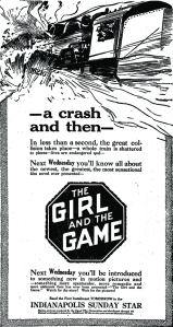 "Figure 2: The Girl and the Game promised something ""more spectacular, more romantic and more elaborate"" than anything that had been seen before. The advertising for the film shows Helen, aboard a speeding locomotive, hurtling towards danger. In the ad below, which ran in national newspapers, the eye is drawn towards a horrible explosion with steam, wreckage and billowing fire. The heroine looks out from the engine's window towards the crash. This is not a woman in need of rescuing; she leans forward, directly heading for the impending destruction."
