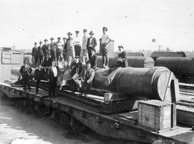Figure 3: A photo of the Signal Film Company from March 24, 1917 at the Los Angeles and Salt Lake railway yards in downtown Los Angeles at 1st Street. Source: Los Angeles Public Library Photo Collection, number 00073773
