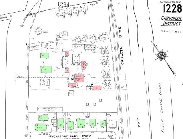 Figure 5: As this Sanborn map shows, a number of the buildings built for the studio (highlighted in red) remained through the 1950s. The scene doc was converted to a garage. The laboratory, projector and dressing rooms became apartments. Today none of the studio buildings appear to have survived, but there are quite a few houses from that time period that still stand (in green).