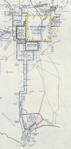 Figure 1: Detail of 1916 map by city engineer, Homer Hamlin documenting Los Angeles' early annexations.  Full map is available from the Library of Congress (http://www.loc.gov/resource/g4364l.ct001800/)