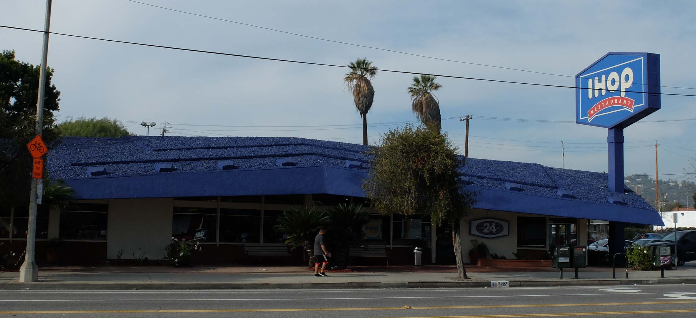 Figure 1: The Prebles Restaurant, now IHOP at Figueora and Ave 26. Under the blue paint is a late Googie coffee shop